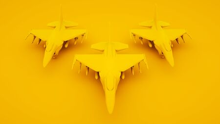 Group of Armed war planes in row. Front view. 3d illustration. 版權商用圖片