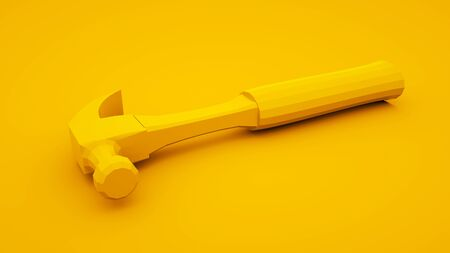 Hammer on yellow background. Build concept. 3d illustration.