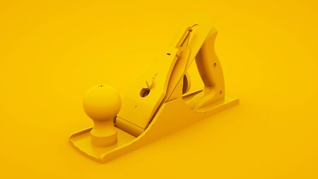 jointer plane isolated on yellow background. Minimal idea concept, 3d illustration. 版權商用圖片