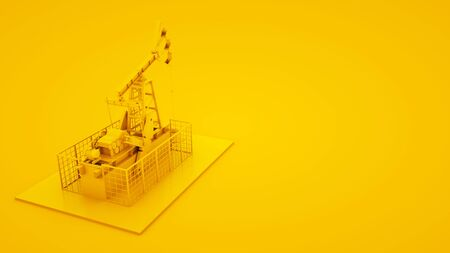 Oil pump jack on yellow background. Minimal idea concept, 3d illustration Stock fotó