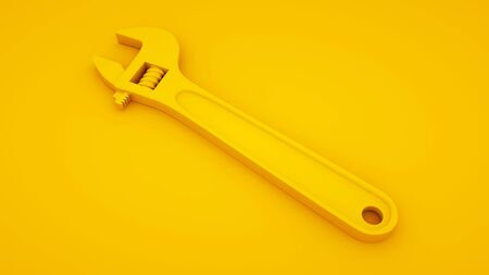 Adjustable wrench on yellow background. Minimal idea concept, 3d illustration.