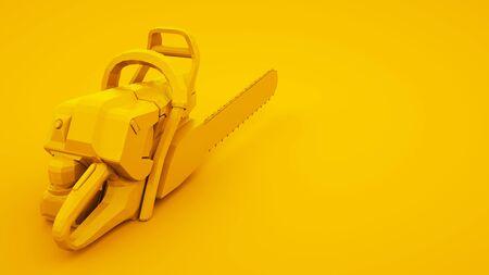 Chainsaw on yellow background. Minimal idea concept, 3d illustration. 版權商用圖片
