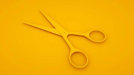 Scissor barber hair 3d illustration on yellow background. Minimal idea concept Reklamní fotografie