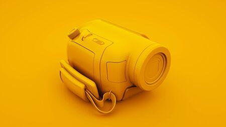 Yellow Video Camera. Minimal idea concept, 3d illustration.