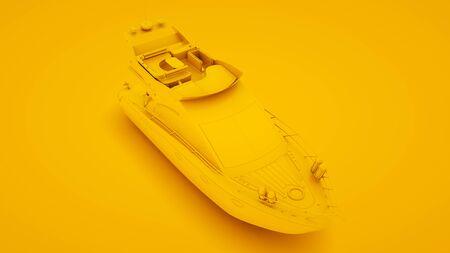 Yacht on yellow background. Minimal idea concept, 3d illustration. Stock Photo