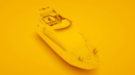 Yacht on yellow background. Minimal idea concept, 3d illustration. Stockfoto