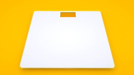 Weighing Scales on yellow background. Minimal idea concept, 3d illustration. 版權商用圖片