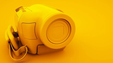 Yellow Video Camera. Minimal idea concept, 3d illustration.