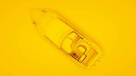 Yacht on yellow background. Minimal idea concept, 3d illustration