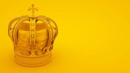 Royal gold crown on yellow background. Minimal idea concept, 3d illustration. 版權商用圖片