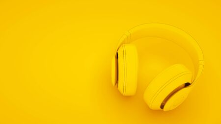 Yellow Headphones on yellow background. Minimal idea concept, 3d illustration.