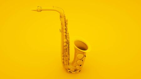 Saxophone on yellow background. Minimal idea concept, 3d illustration.
