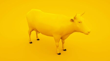 Cow isolated on yellow background. Minimal idea concept, 3d illustration. Stock fotó
