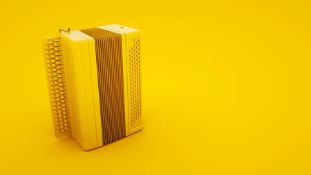 Accordion on yellow background. Russian folk musical instrument. 3d illustration. 版權商用圖片