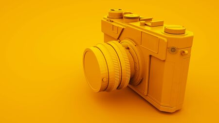 Yellow Vintage Camera. Minimal idea concept, 3d illustration.
