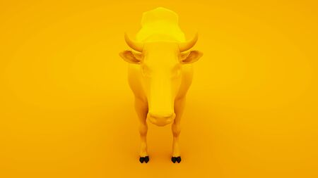 Cow isolated on yellow background. Minimal idea concept, 3d illustration. Stok Fotoğraf