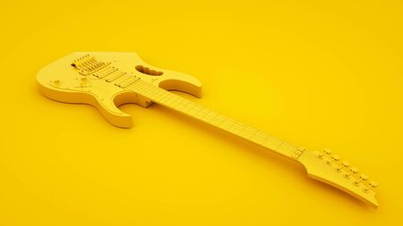 Yellow Electric Guitar on yellow background. Minimal idea concept, 3d illustration.