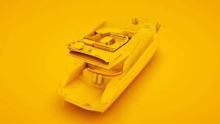 Boat on yellow background. Minimal idea concept, 3d illustration.