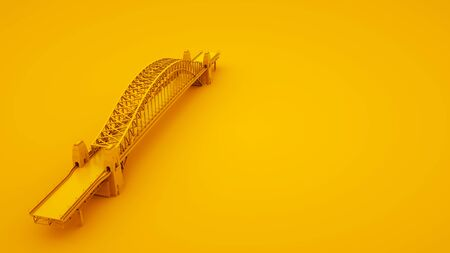 Bridge on yellow background. Minimal idea concept, 3d illustration.