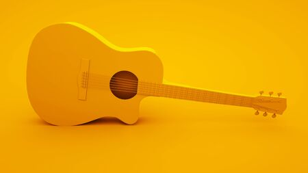 Acoustic guitar on yellow background. Minimal idea concept, 3d illustration.