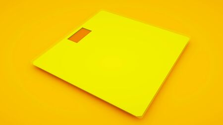 Weighing Scales on yellow background. Minimal idea concept, 3d illustration. Stock fotó