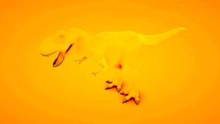 Tyrannosaurus Rex on orange background. Minimal idea concept, 3d illustration