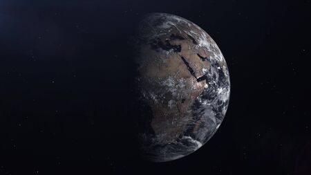Realistic Earth Planet in the outer space, 3d rendering. Stock fotó