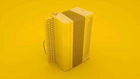 Accordion on yellow background. Russian folk musical instrument. 3d illustration. Stock fotó