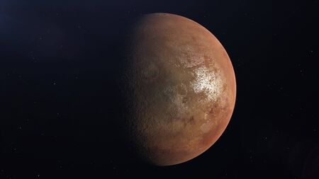 Planet Mars. View from space. A large surface of Planet is illuminated by the sun. 3d rendering.