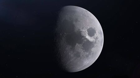 Realistic Moon in the outer space, 3d rendering.