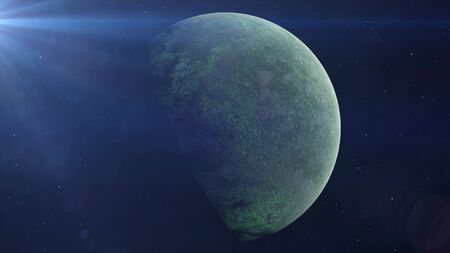 Realistic Green Alien Planet in the outer space, 3d rendering.