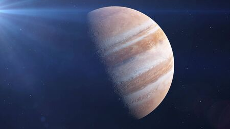 Planet Jupiter in Space drifting away, stars in background. 3d rendering.