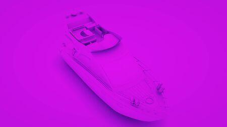 Boat on purple background. Minimal idea concept, 3d rendering.