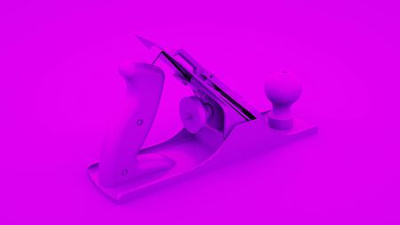 Jointer plane isolated on purple background. Minimal idea concept, 3d rendering.