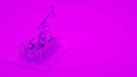 Oil pump jack on purple background. Minimal idea concept, 3d rendering.