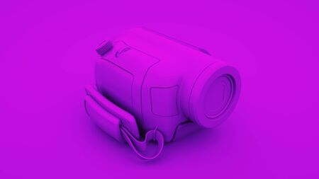 Purple Video Camera. Minimal idea concept, 3d rendering.
