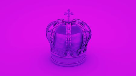 Royal gold crown on purple background. Minimal idea concept, 3d rendering. Stock fotó