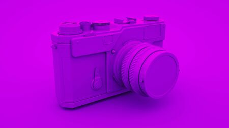 Purple Vintage Camera. Minimal idea concept, 3d rendering.