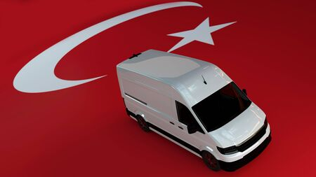 Turkey Logistics Concept. White Delivery Van on Turkey Flag background. 3d Rendering.