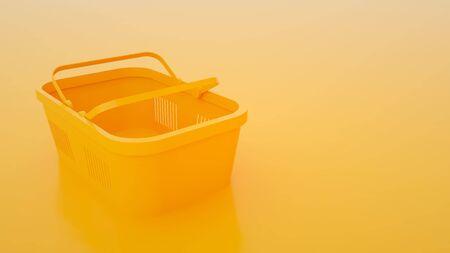 Food basket on yellow background. 3d illustration.