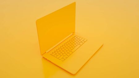 Modern Laptop on yellow background. 3d illustration.