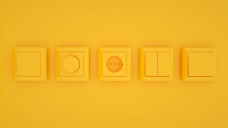 Set of switches and sockets isolated on yellow trendy color background. 3d illustration.