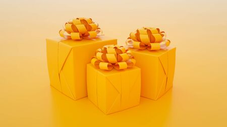 Set of yellow gift boxes isolated on yellow background. Minimalist creative concept. 3d illustration. Stock fotó
