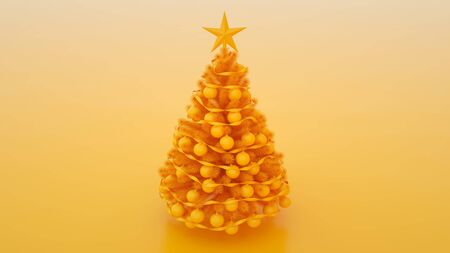 Christmas tree with balls isolated on yellow background. 3d illustration. Banco de Imagens