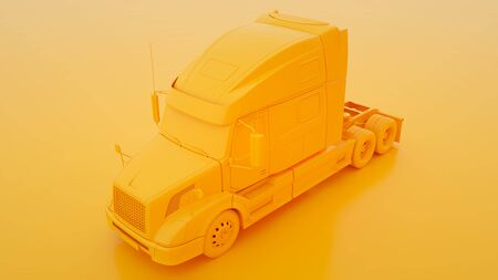Yellow american truck. Minimal idea concept. 3d illustration. Stock fotó