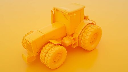 Yellow Tractor. Minimal idea concept. 3d illustration. Stock fotó