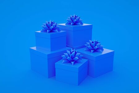 Set of blue gift boxes isolated on blue background. Minimalist creative concept. 3d illustration.