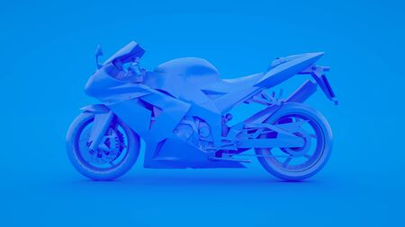Modern Motorbike isolated on blue background. 3d rendering Archivio Fotografico