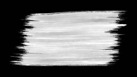 Single paint brush stroke black and white alpha background texture element.