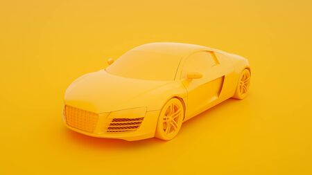 Sports car isolated on yellow background. 3d rendering.